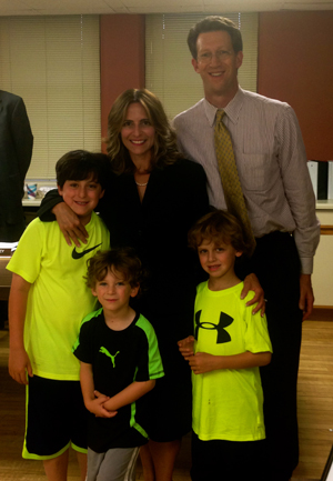 Lisa Cooper with her family at the Swearing In Ceremony